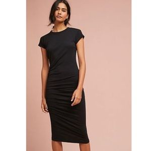 New SUNDRY x Anthro Black Ruched T-Shirt Dress